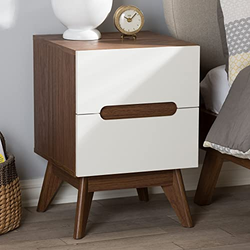Baxton Studio 2-Drawer Storage Nightstand in White and Walnut Brown Finish