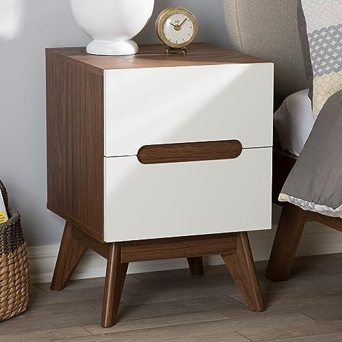 Baxton Studio Calypso Mid-Century Modern White and Walnut Wood 3-Drawer Storage Nightstand Mid-Century/White/Walnut Brown/Particle Board/MDF