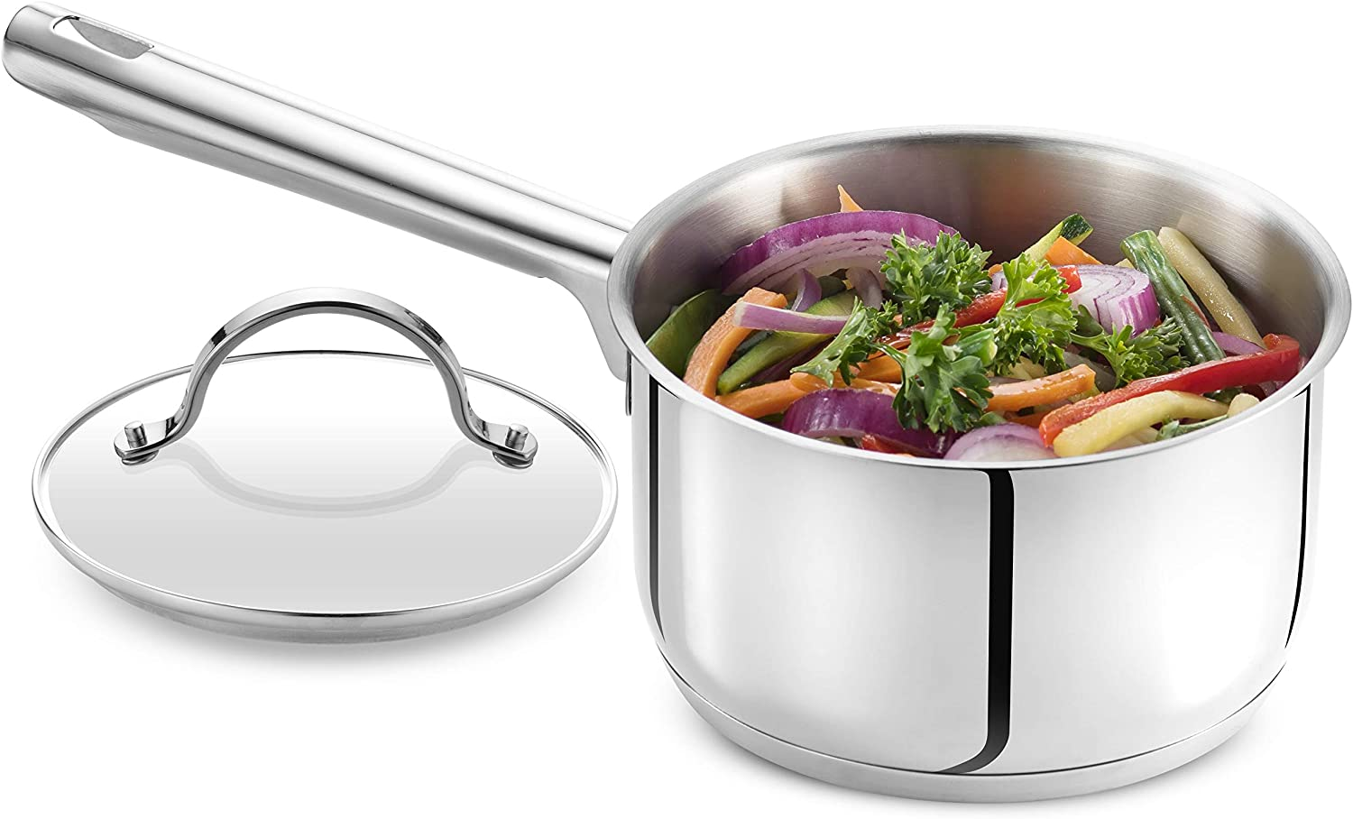 GOURMEX Tango Induction Saucepan | Stainless Steel Pot With Glass Cookware Lid | Interior Measurement Markings | Compatible with All Heat Sources | Dishwasher Oven Safe (1.8L)