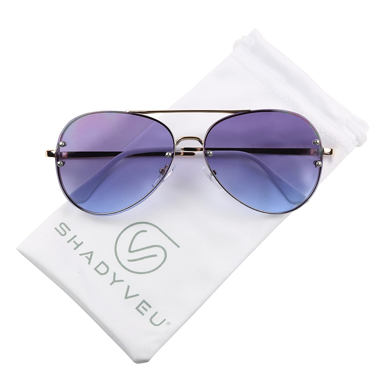 fcb93dde253b Amazon.com: ShadyVEU - Unique Oceanic Gradient Color Tinted Lens Rimless  Metal Aviator Rivets Sunglasses (Style #1, Brown/Pink): Clothing