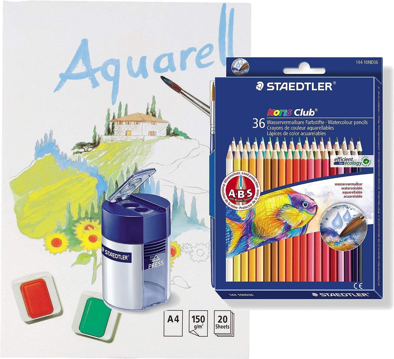 3er Bundle Staedtler 144 10ND36 - Noris Club Aquarell Farbstift, Doppeldeckeretui, 36 Stück  3 Aquarellblöcke  3 Spitzer B01C2ZP9RO | Großer Räumungsverkauf