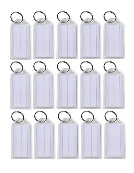 Lot of 100 Key ID Labels Tags Split Key Ring Key Chain Name Tag Click-It  Clear Colors By Spreezie (White)
