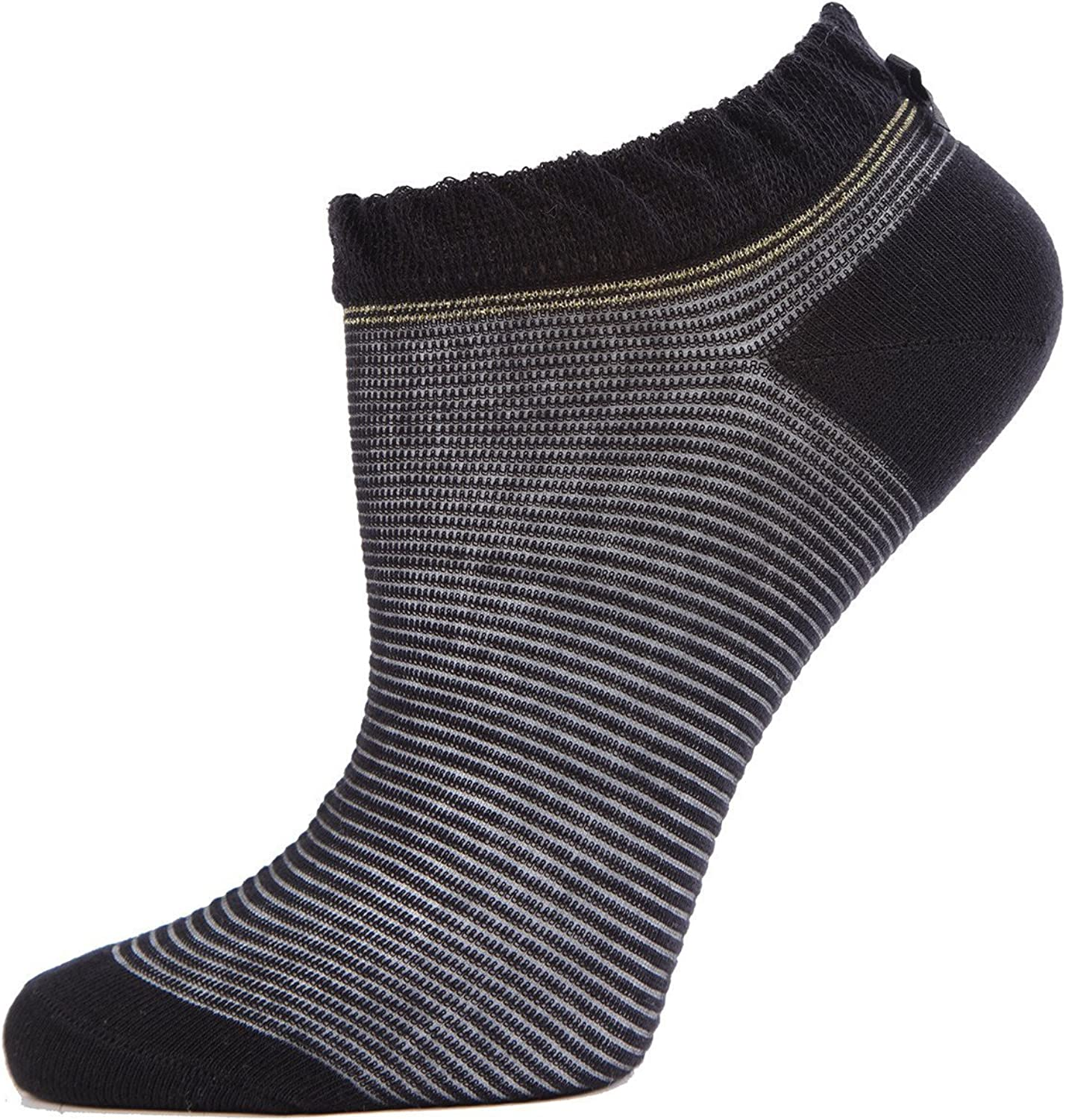 Womens Low Cut Socks MeMoi Striped Semi-sheer Low Cut No Show Socks