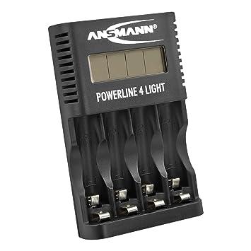 ANSMANN Cargador universal de baterías Powerline 4 Light - Cargador ligero y compacto - Con 4 ranuras para AA/AAA - Con pantalla LCD y enchufe USB