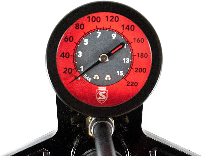 Odis Stand-Luftpumpe mit Extra grossem Manometer Fahrradpumpe f/ür Alle Ventile,schwarz mit Manometer