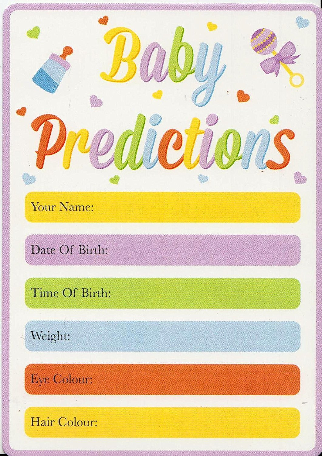 Baby Shower Game Pack Of 15 Baby Prediction Cards Guess The