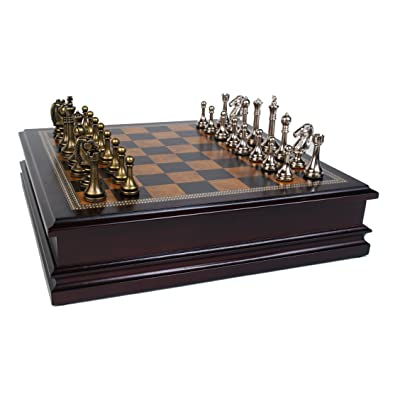 "Classic Game Collection Metal Chess Set with Deluxe Wood Board and Storage - 2.5"" King: Toys & Games"