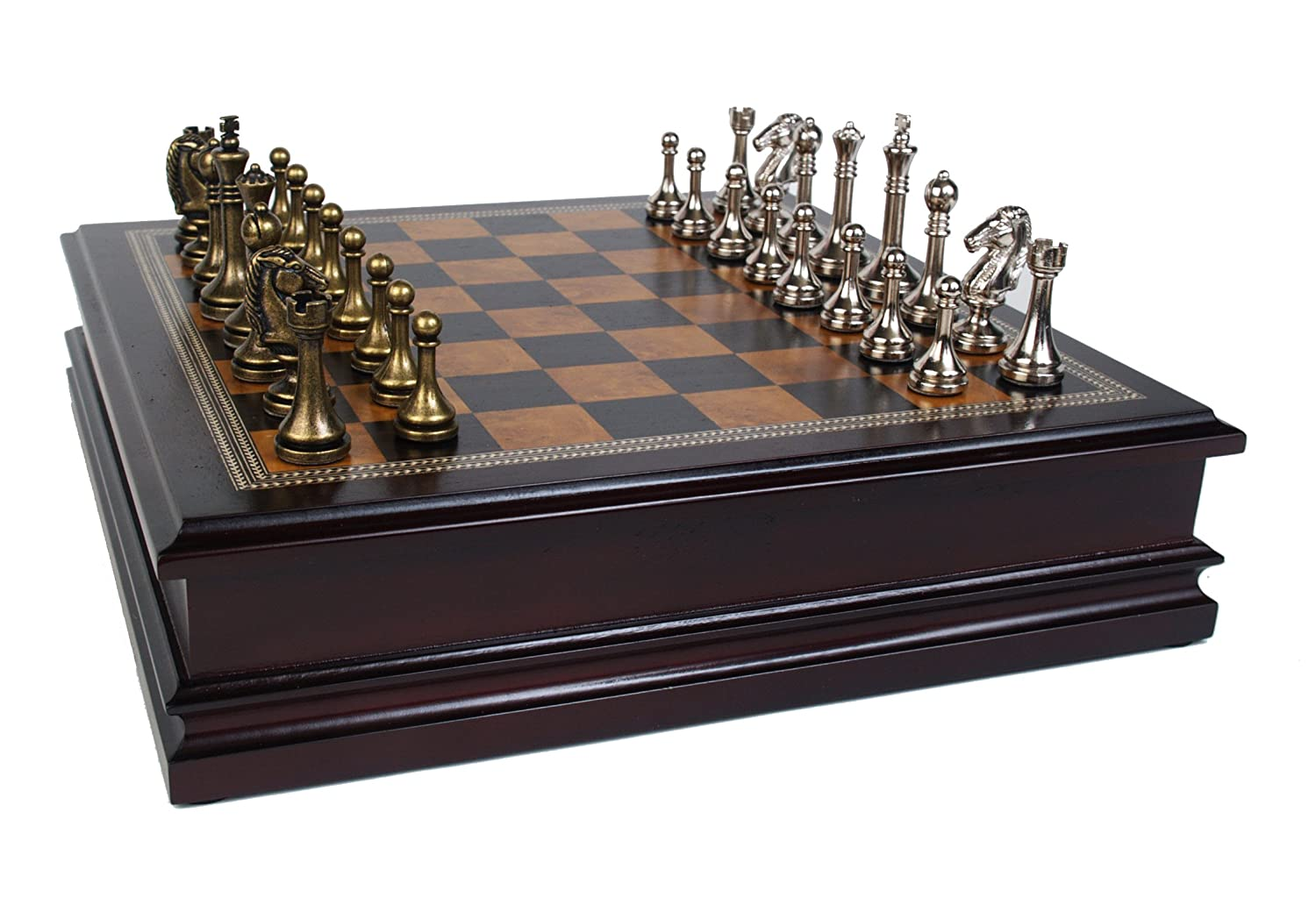 John N. Hansen Metal Chess Set With Deluxe Wood Board And Storage 2.5 Inch  King, Board Games   Amazon Canada