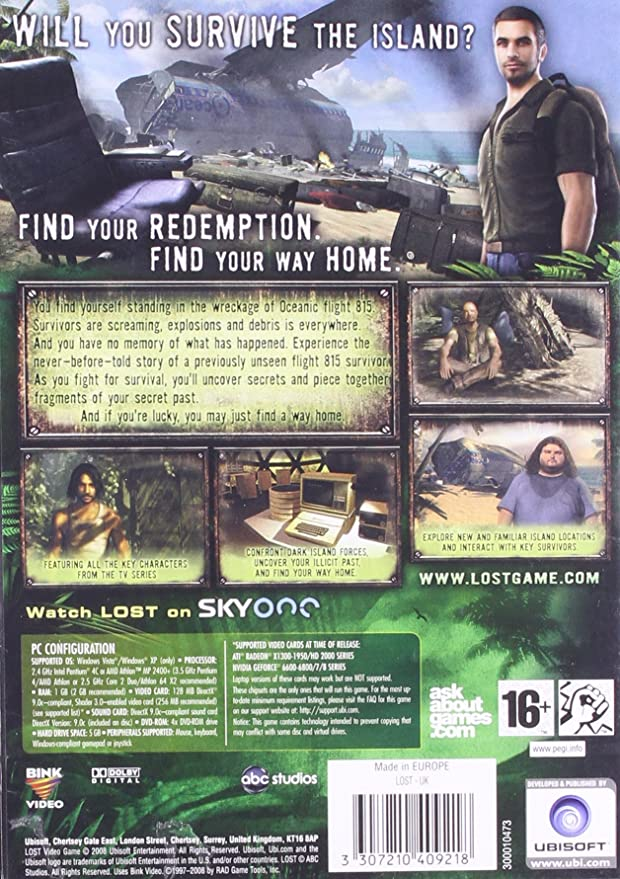 Lost The Video Game PC DVD