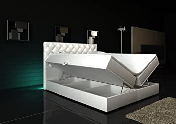 Boxspring bett weiß 180x200  Wohnen-Luxus Boxspringbett Weiß Panama Lift 180x200 inkl. 2 ...