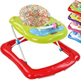 Infantastic First Steps Baby Walker Height Adjustable with Music Toys (Red)