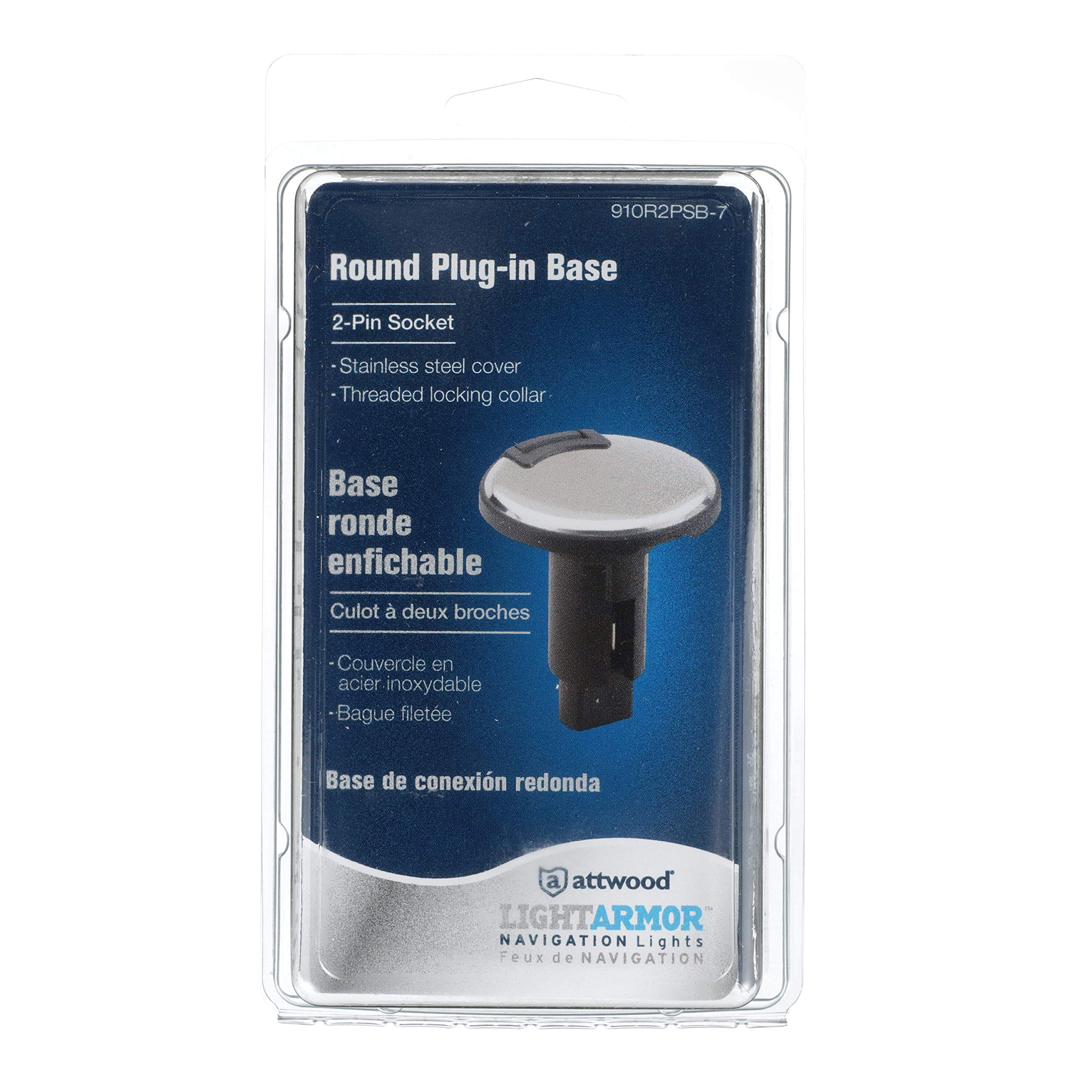 attwood 910R2PB-7 Round 2-Pin Navigation Light Plug-In Base Black Plastic Boat Round one size