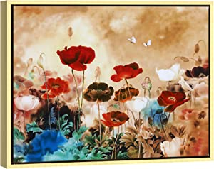 Wieco Art Framed Art Blooming Poppies Canvas Prints Wall Art Colorful Flowers Pictures Paintings for Living Room Bedroom Bathroom Home Decorations Floral Giclee Artwork FL1-3040-GF