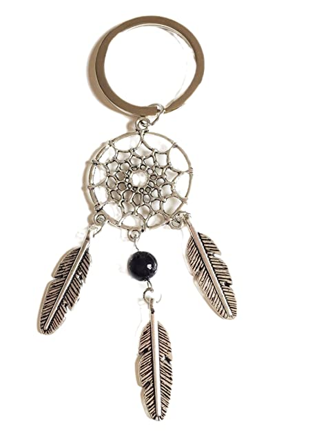 Llavero atrapasueños Plumas indias y perla negra.: Amazon.es ...