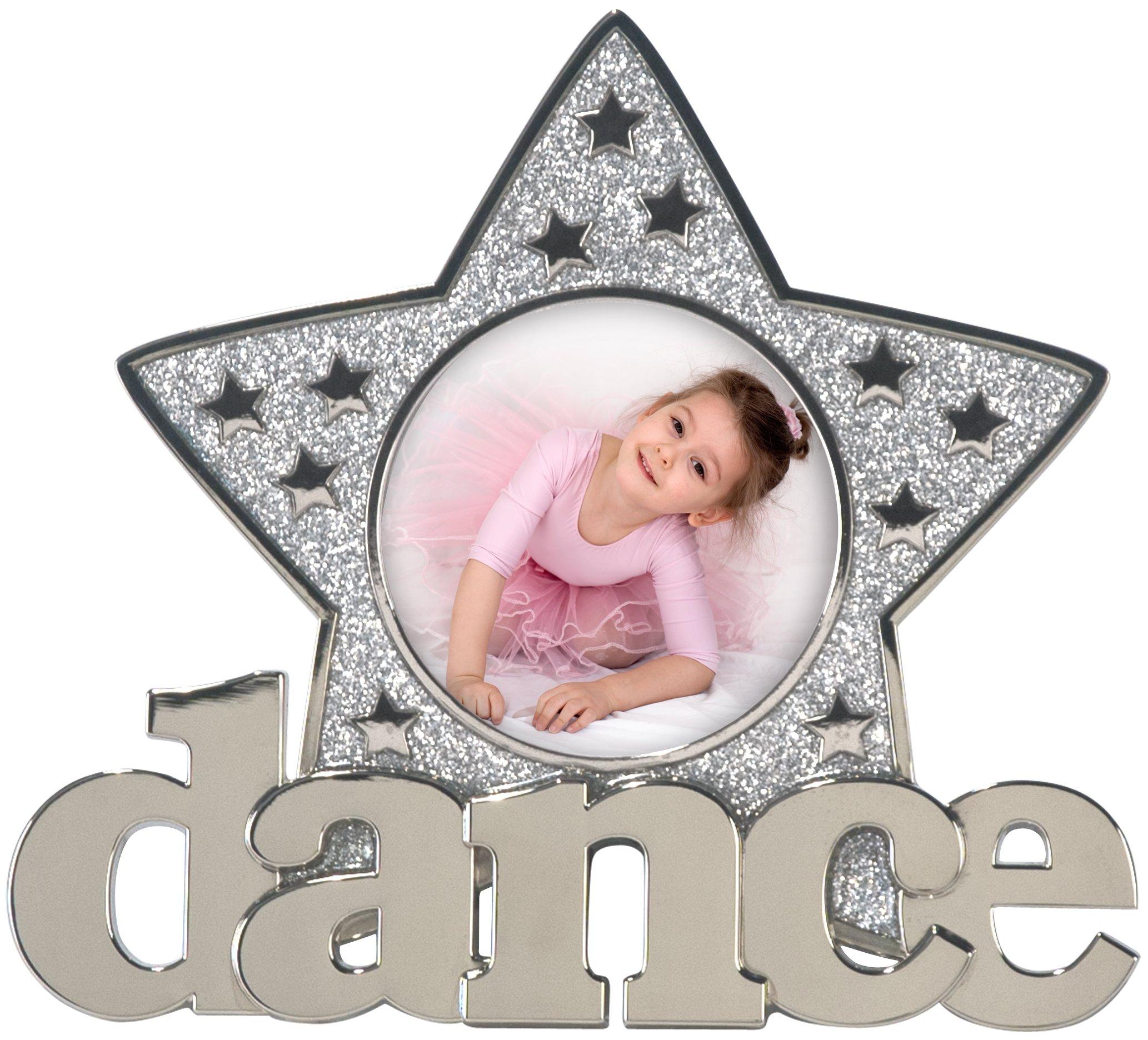 Malden International Designs Dance Glitter Star Metal Picture Frame, 3x3, Silver by Malden International Designs (Image #1)