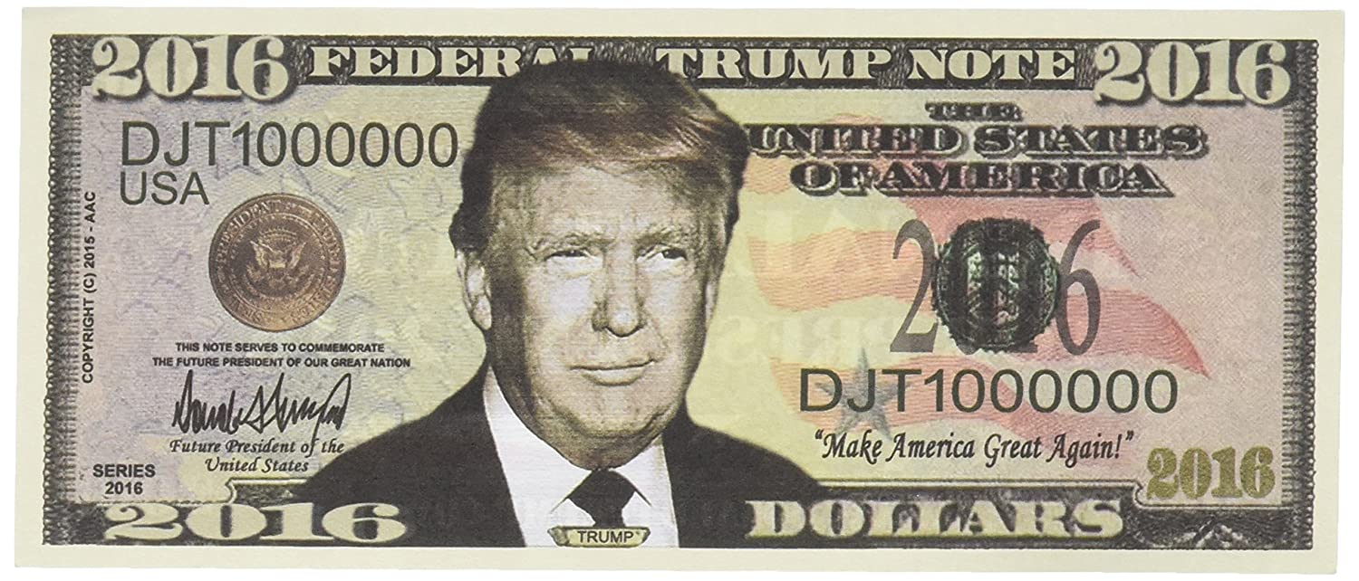 picture about Fake Million Dollar Bill Printable titled Established of 100 - Donald Trump 2016 Presidential Greenback Invoice