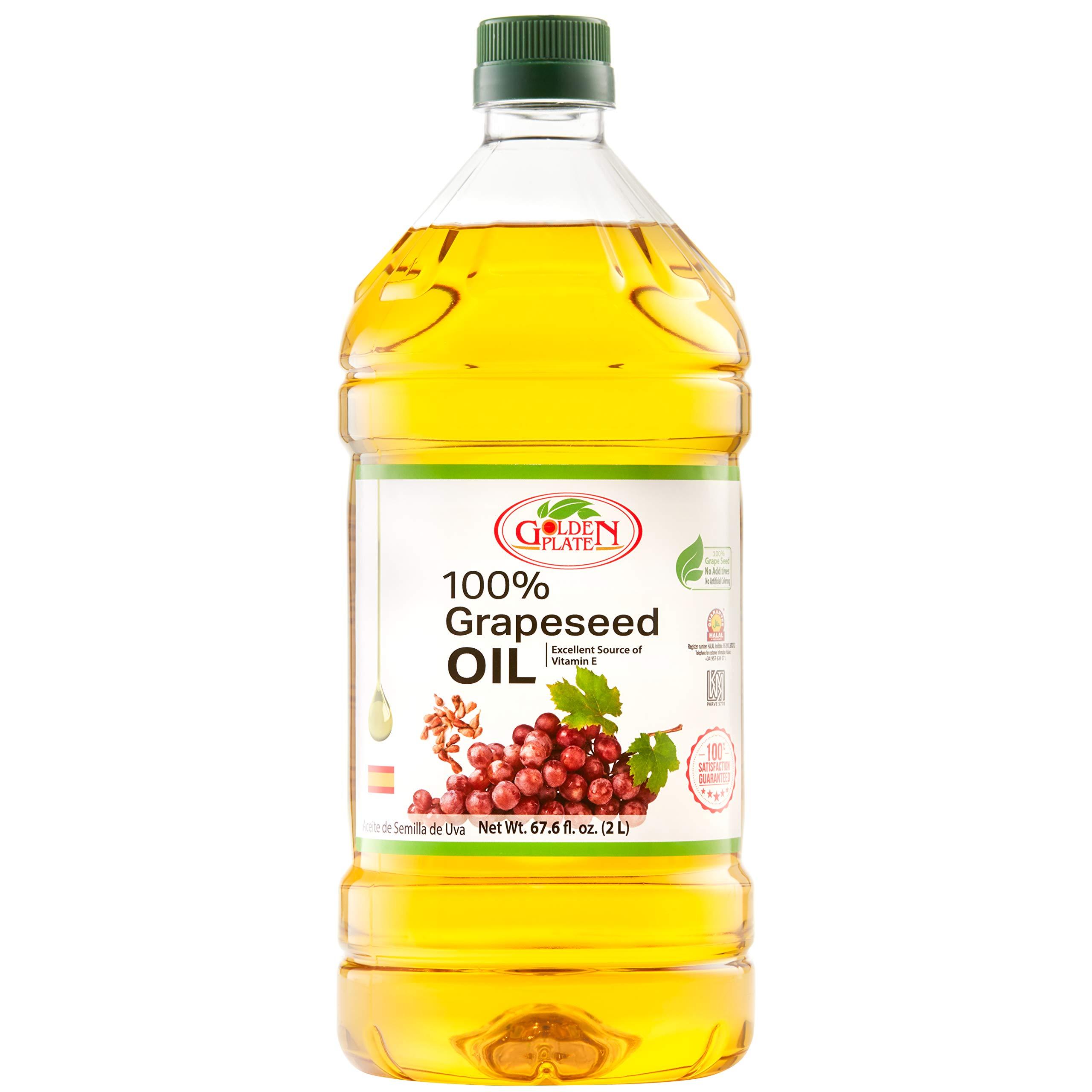 Golden Plate 100% Grapeseed Oil 67.6 fl oz 2 Liter 2000ml by GOLDEN PLATE