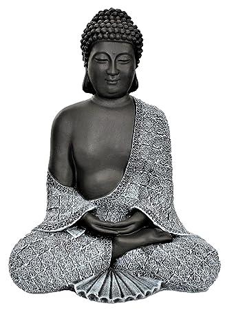 Tiefes Kunsthandwerk Buddha Figur aus Stein sitzend in Schiefer ...