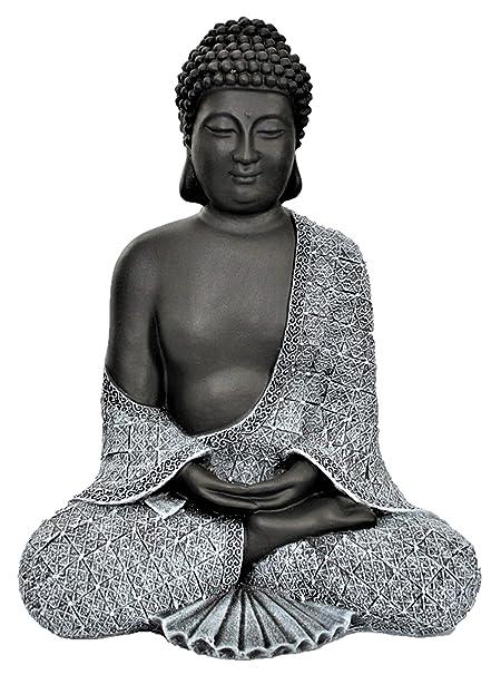 Bouddha Statue En Pierre Gris Ardoise Decoration Figurine Pour Interieur Exterieur Jardin