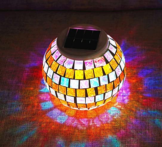Solar Lights, SOLMORE LED Color Changing Solar Table Lights Mosaic Glass  Ball Solar Outdoor Garden