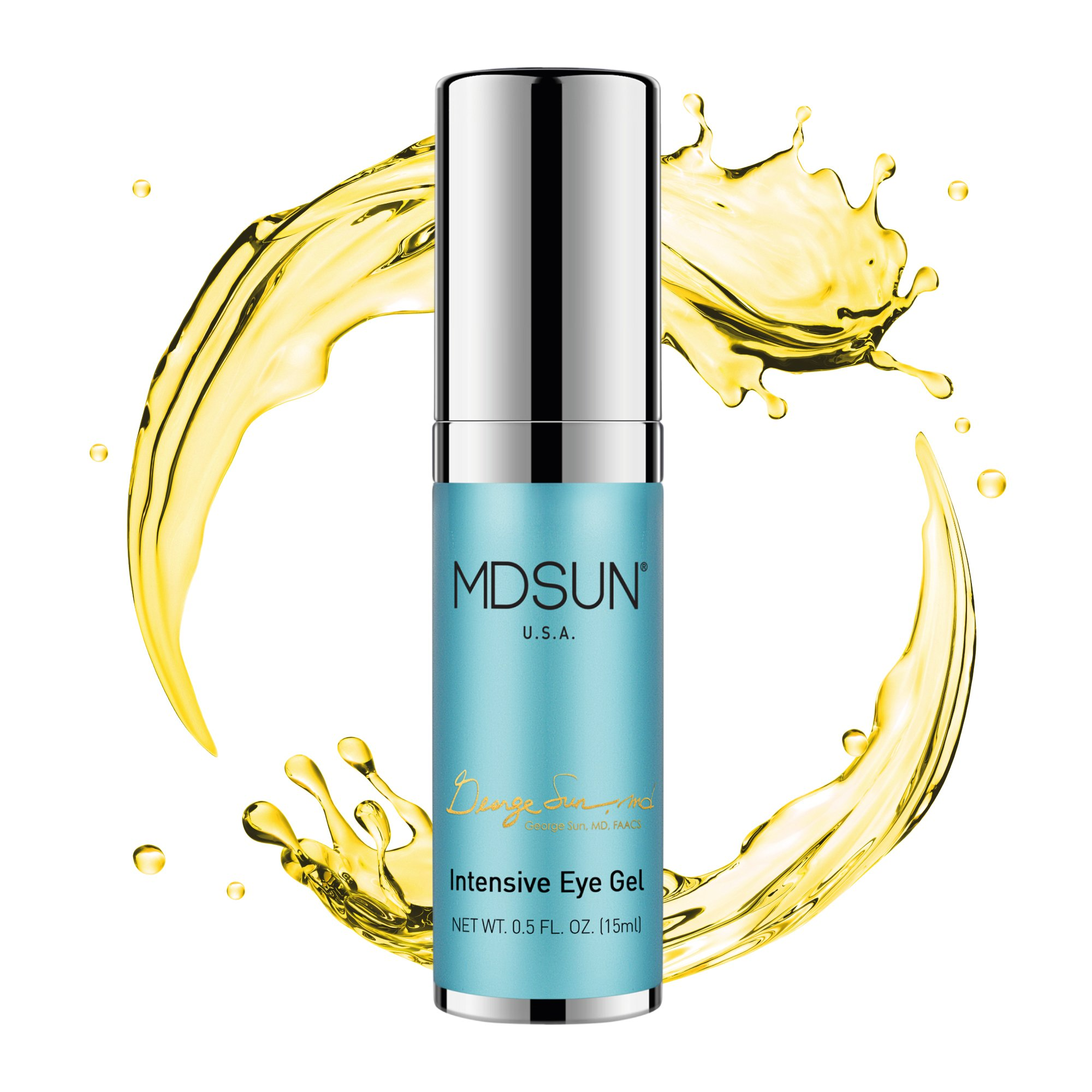 MDSUN Intensive Eye Gel, Alcohol Free; with Sodium Hyaluronate, CoQ10, Vitamin E, C, K, Support Natural Collagen, Keep Skin Moisturized, Radiant & Reduce Lines, Wrinkles, Puffiness, Dark Circles, 15mL