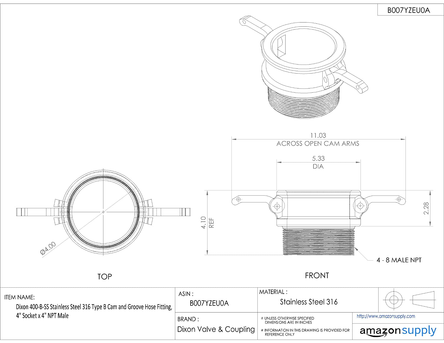 1 Socket x 1 NPT Male Dixon 100-B-SS Stainless Steel 316 Type B Cam and Groove Hose Fitting