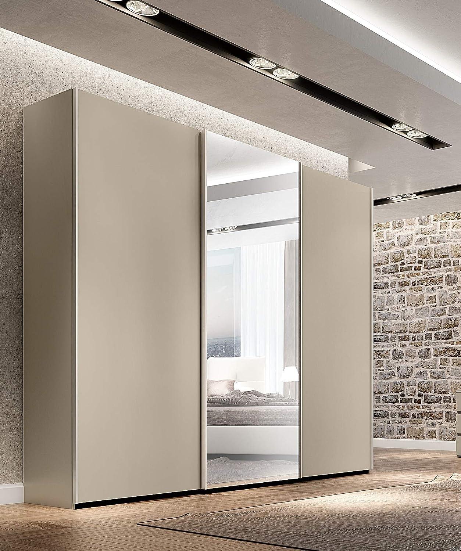 Armario de puertas correderas Klipick. (3 puertas con espejo). Dimensiones: longitud: 255 cm, profundidad: 60 cm, altura: 240 cm.: Amazon.es: Hogar