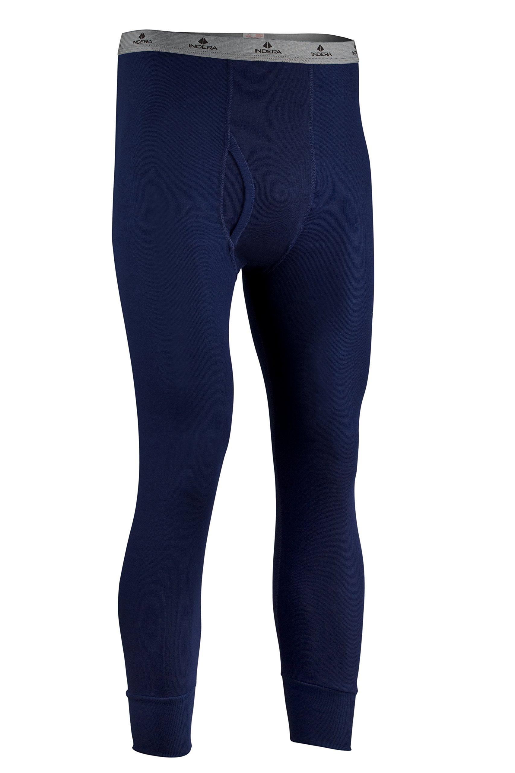 Indera Men's Tall Polypropylene Performance Rib Knit Thermal Underwear Pant, Navy, X-Large
