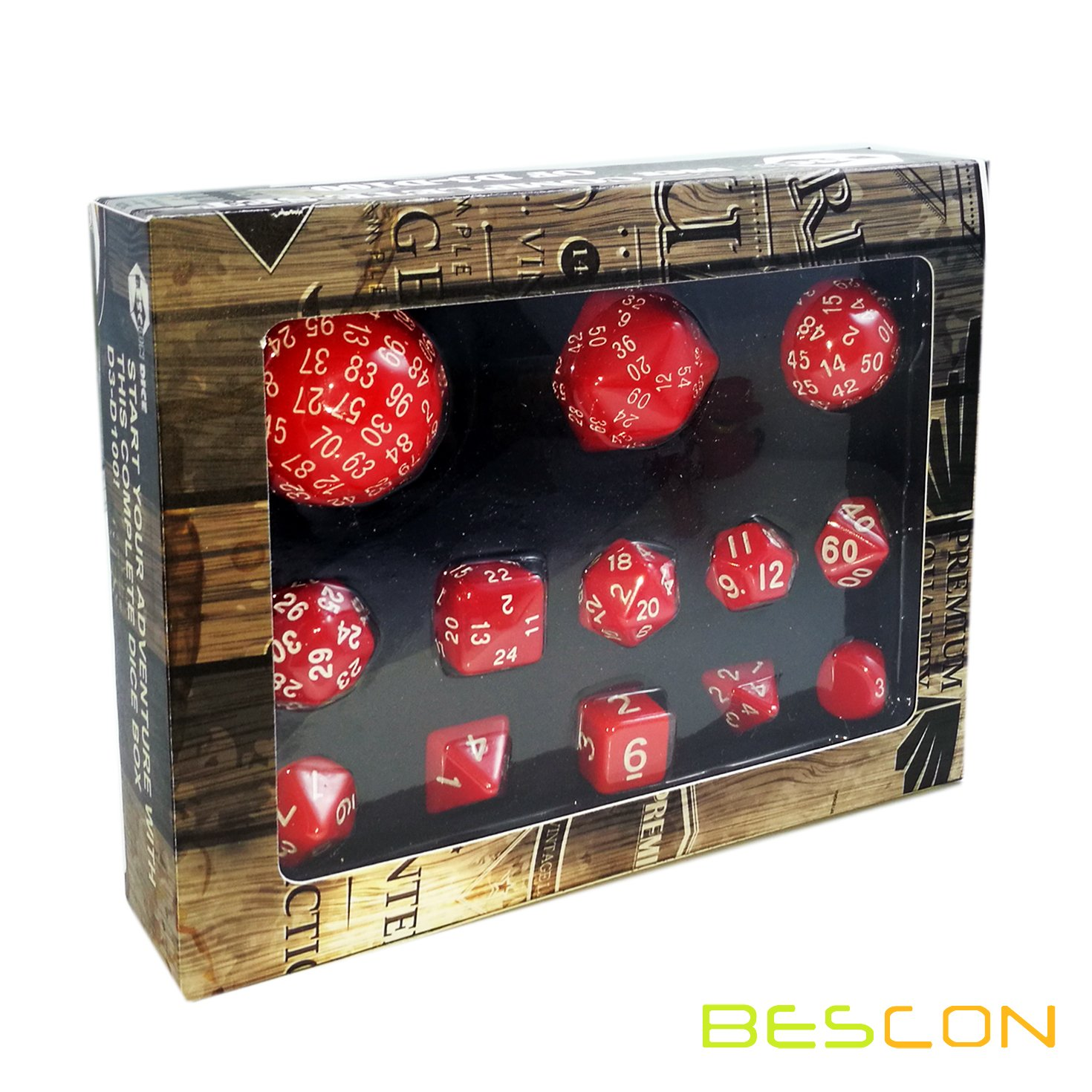 BESCON DICE Bescon Complete Polyhedral Dice Set 13pcs D3-D100, 100 Sides Dice Set Opaque Red