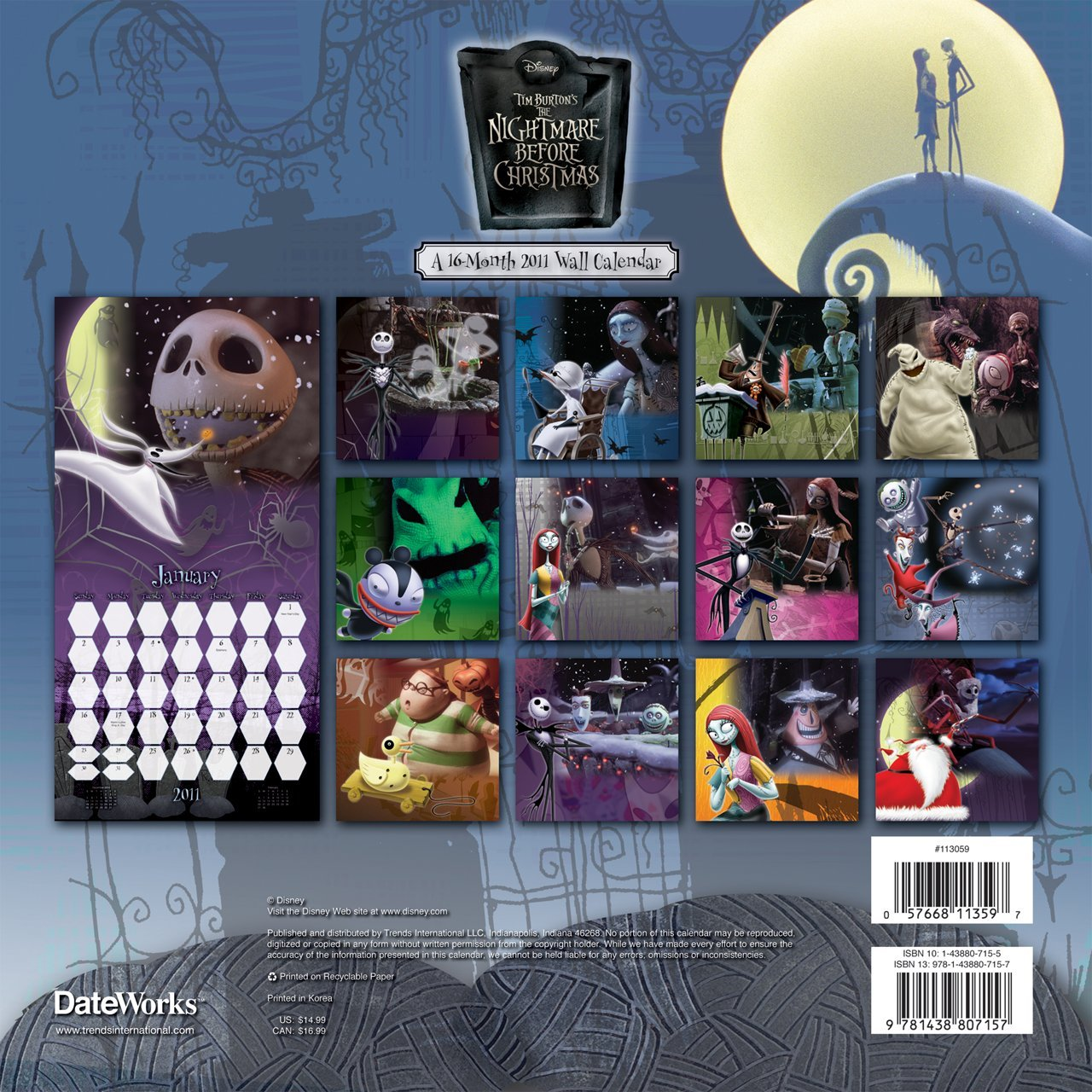Nightmare Before Christmas 2011 Wall Calendar: DateWorks ...