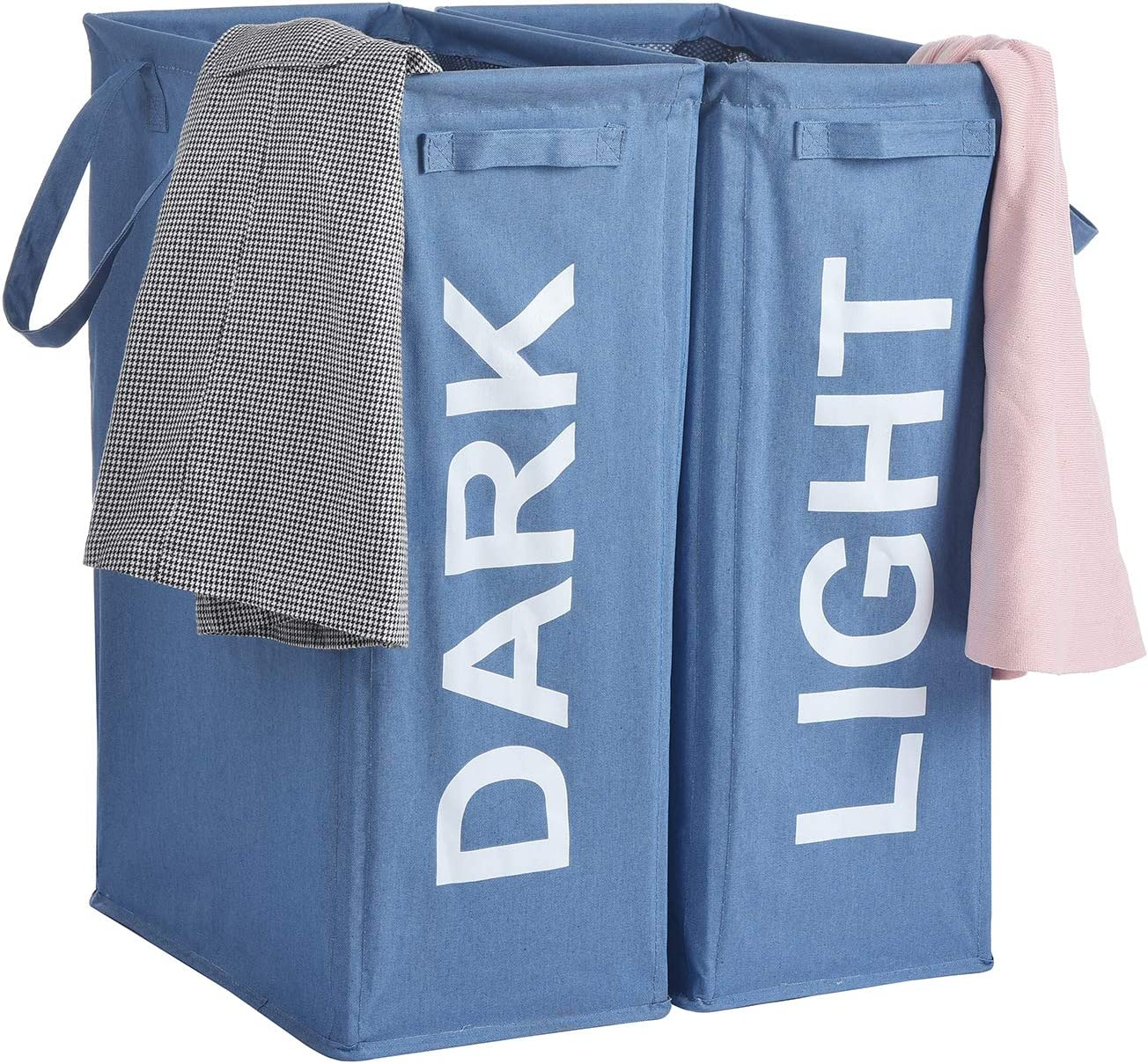 "Haundry 26"" Tall Slim Laundry Hamper with Handles, 2Pcs/Set Large Thin Foldable Waterproof Double Laundry Basket Bag for Dirty Clothes Storage"
