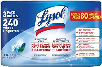 Lysol Disinfecting Surface Wipes, Spring Waterfall, 3X80 Wipes, Disinfectant, Cleaning, Sanitizing (240 Wipes)