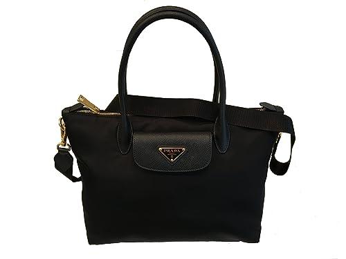 dcb418c7d Prada Black Tessuto Saffiano Nylon Shopping Tote Bag 1BA106: Amazon.ca:  Shoes & Handbags