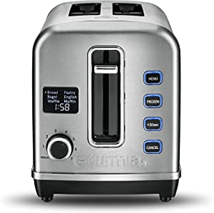 Gourmia GDT2650 - Digital Display Toaster with 5 Toast Functions, 7 Shade Settings, Rapid Reheat Mode and Extra Wide Slots - Stainless Steel