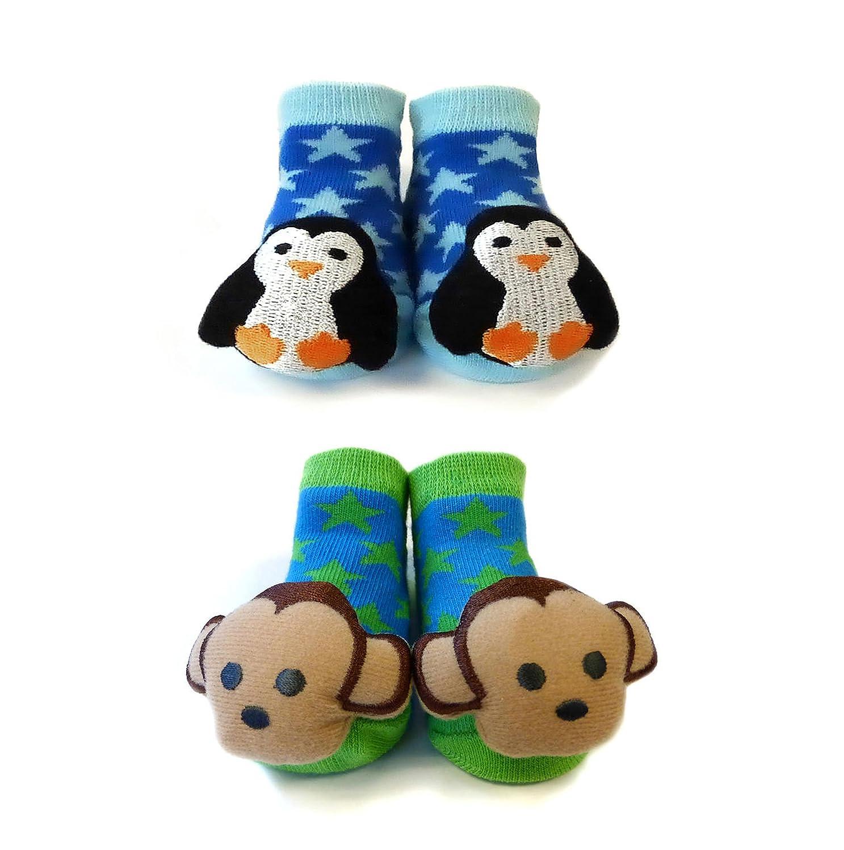 Amazon.com: Sock Monkey Newborn Baby Booties Plush Penguin Rattle ...