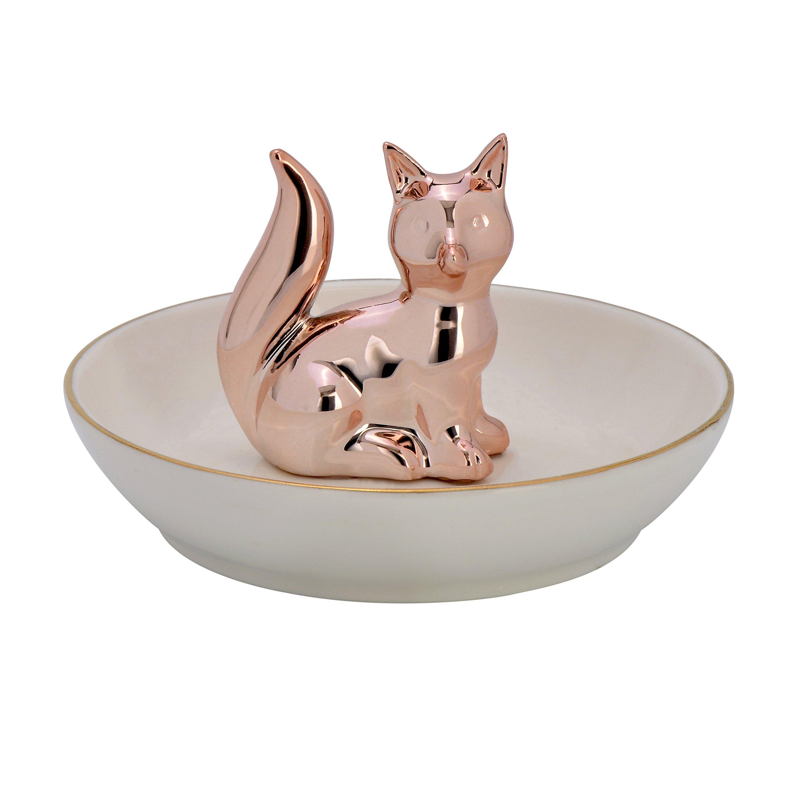 Fox Ring Holder Ceramic Ring Dish Jewelry Trinket Dish Jewelry Holder Plate Stand (Rose Gold)