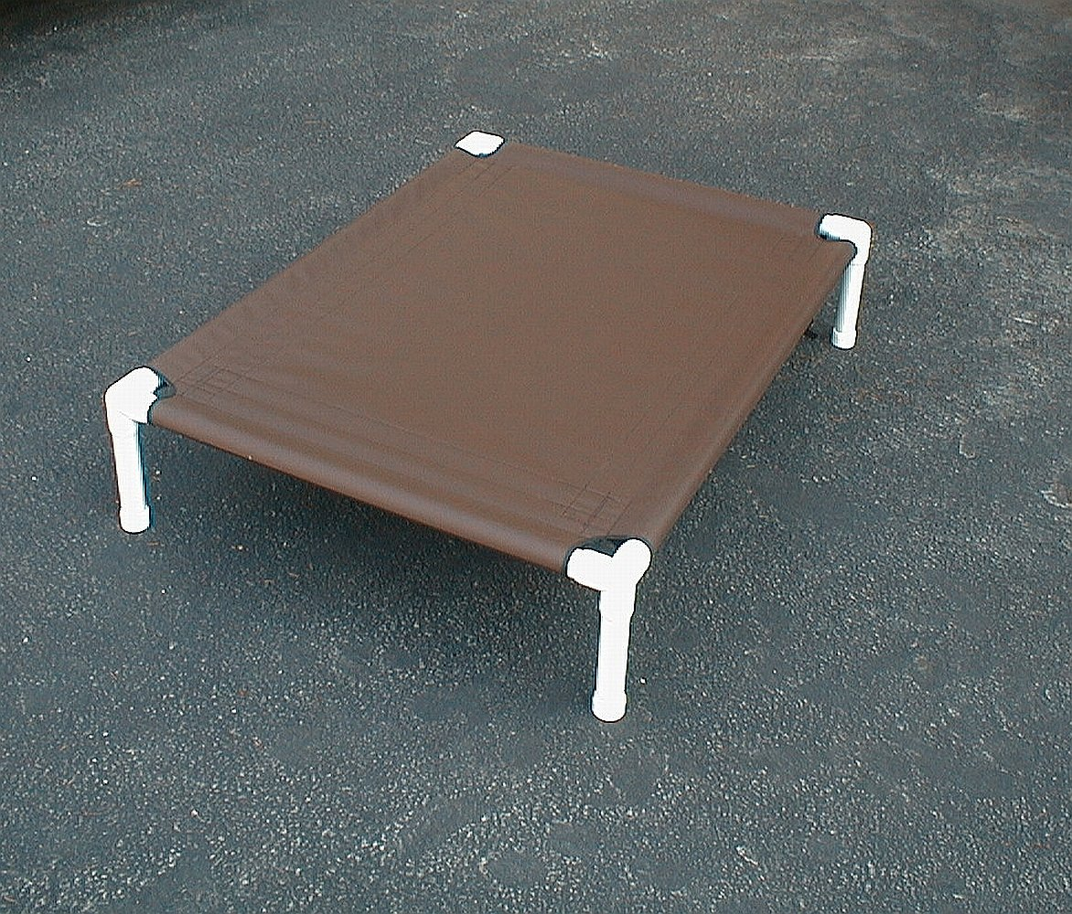 Dianes K9 Creations Inc. Elevated Dog Bed. Outside Dog Bed. Dog Cot. Canvas Dog Bed. 32x44x8 Chocolate Brown