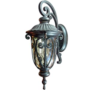 Y Decor EL591LOR Modern, Transitional, Traditional Hailee Outdoor Exterior Light Fixture Oil Rubbed Bronze Finish with Gold Stone Glass Large, Oil Rubbed Bronze, Brown