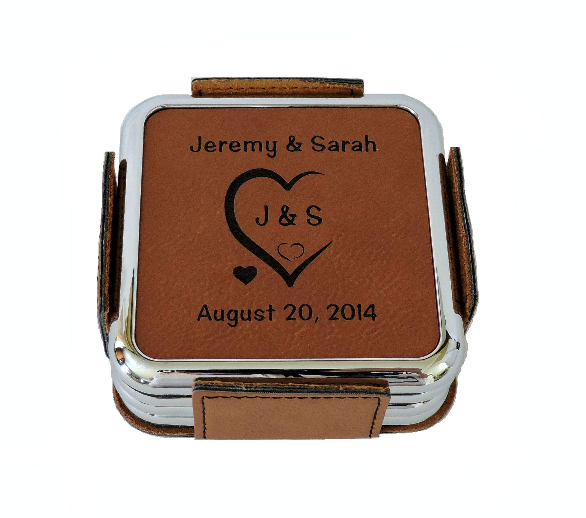 Leather Coasters Personalized with Initials Carved in Heart and Wedding Date by Forever Me Gifts
