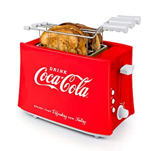 Nostalgia TCS2CK Coca-Cola Grilled Cheese Toaster with Easy-Clean Toaster Baskets and Adjustable Toasting Dial, Red, 2-Slot
