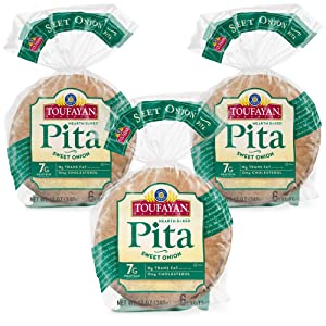 Toufayan Bakery, Sweet Onion Pita Bread for Sandwiches, Meats, Salads, Cheeses and Snacks, Naturally Vegan, Cholesterol Free and Kosher (Sweet Onion, 3 Pack)