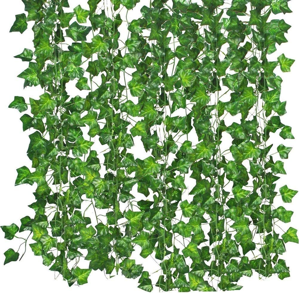 KUPOO Ivy Garland 12 Strands (Total 80 Feet) Fake Ivy Artificial Ivy Leaves Greenery Garlands Hanging for Wedding Party Garden Wall Decoration (Style A)