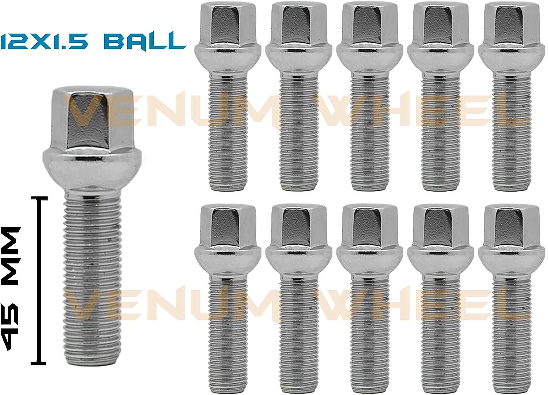 20 Pcs Lug Bolts Lugs Nuts Ball Seat 12x1.5 Benz VW 39mm Shank