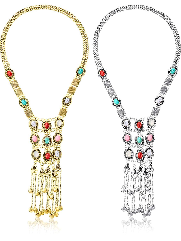 Yaomiao 2 Unidades Turquesa Collar Fringe Largo Boho Bohemia Beads Fringe Collar Étnico Tribal Collar Colgante Indio Turco Tema para Las Mujeres