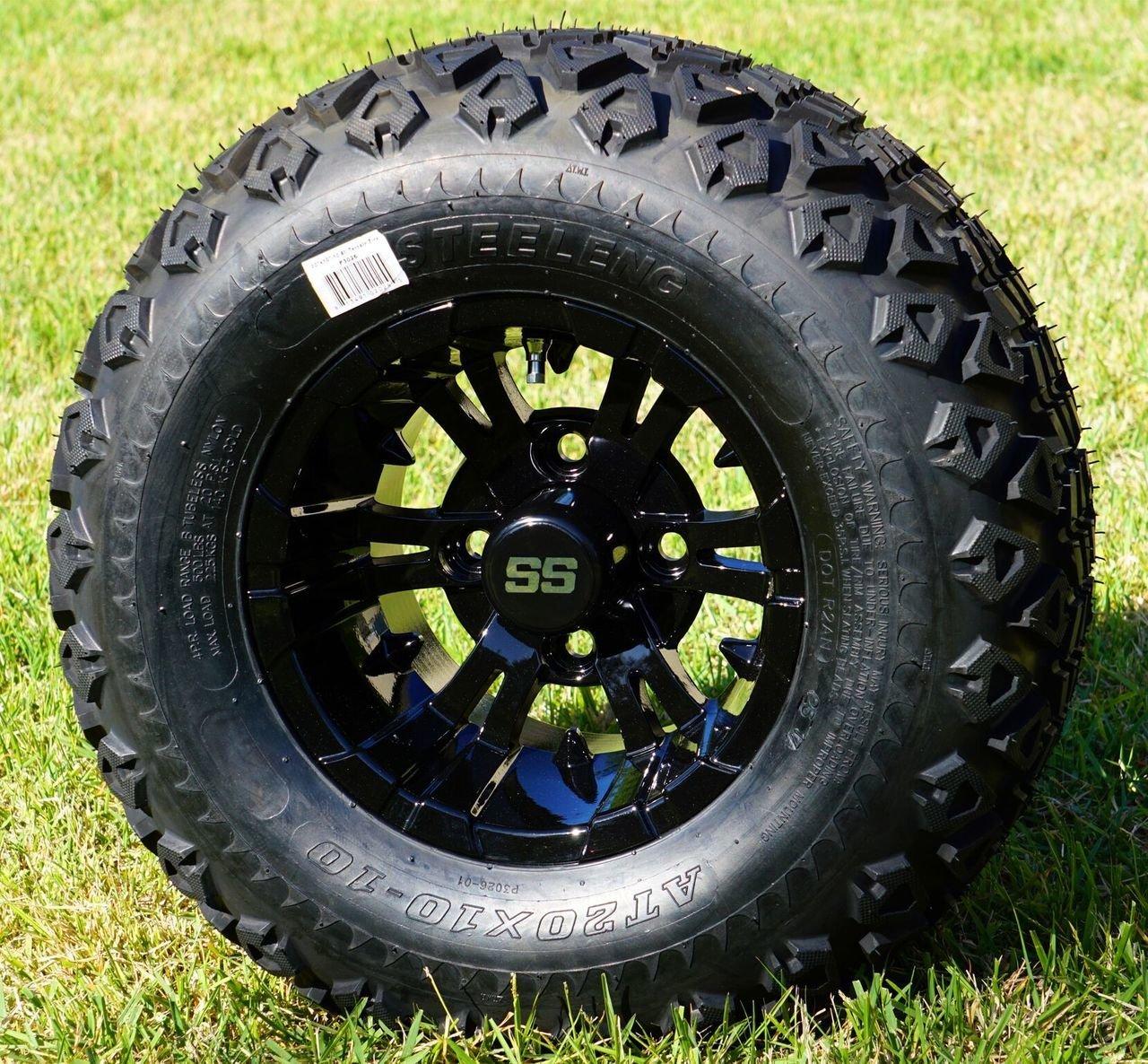 10 Vampire Gloss Black Wheels And 20x10 10 Dot All Terrain Tires