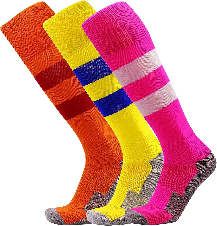 KALAKIDS Youth Soccer Socks 1//3//5//6 Pack Stripe Compression Football Socks