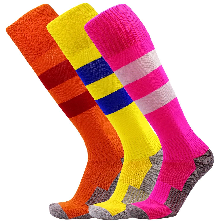 Kid Soccer Socks 3 Pack Knee High Stripe Compression Football Socks for Boys/Girls (Hot Pink + Orange + Yellow) by KALAKIDS