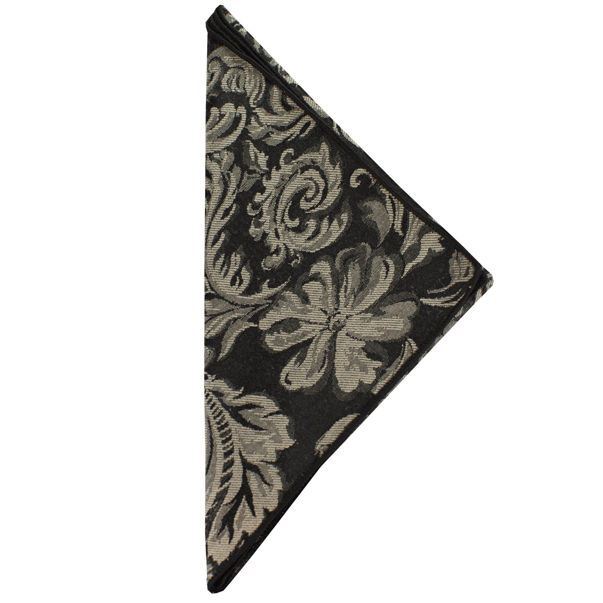 Ultimate Textile (10 Dozen) Miranda 17 x 17-Inch Damask Cloth Napkins- Jacquard Weave, Black