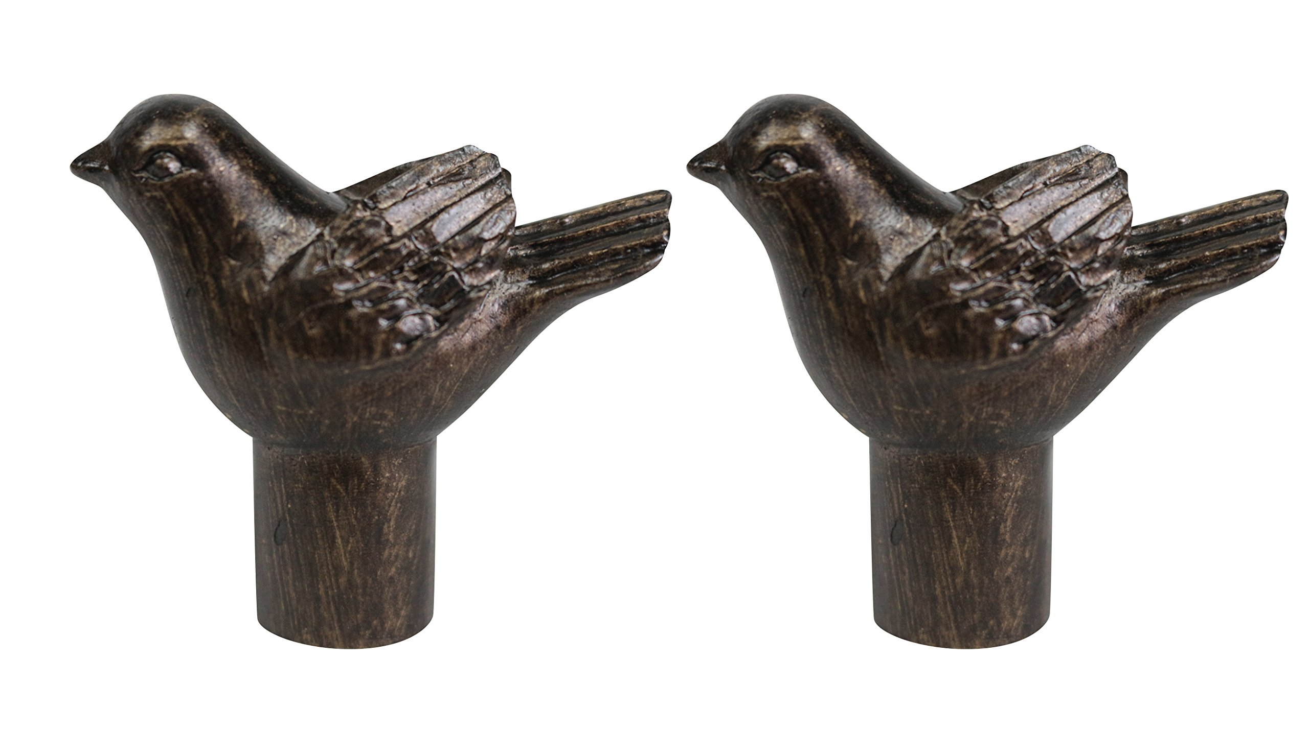 Urbanest Set of 2 Bird Lamp Finials, 1 3/4-inch Tall, Antique Bronze