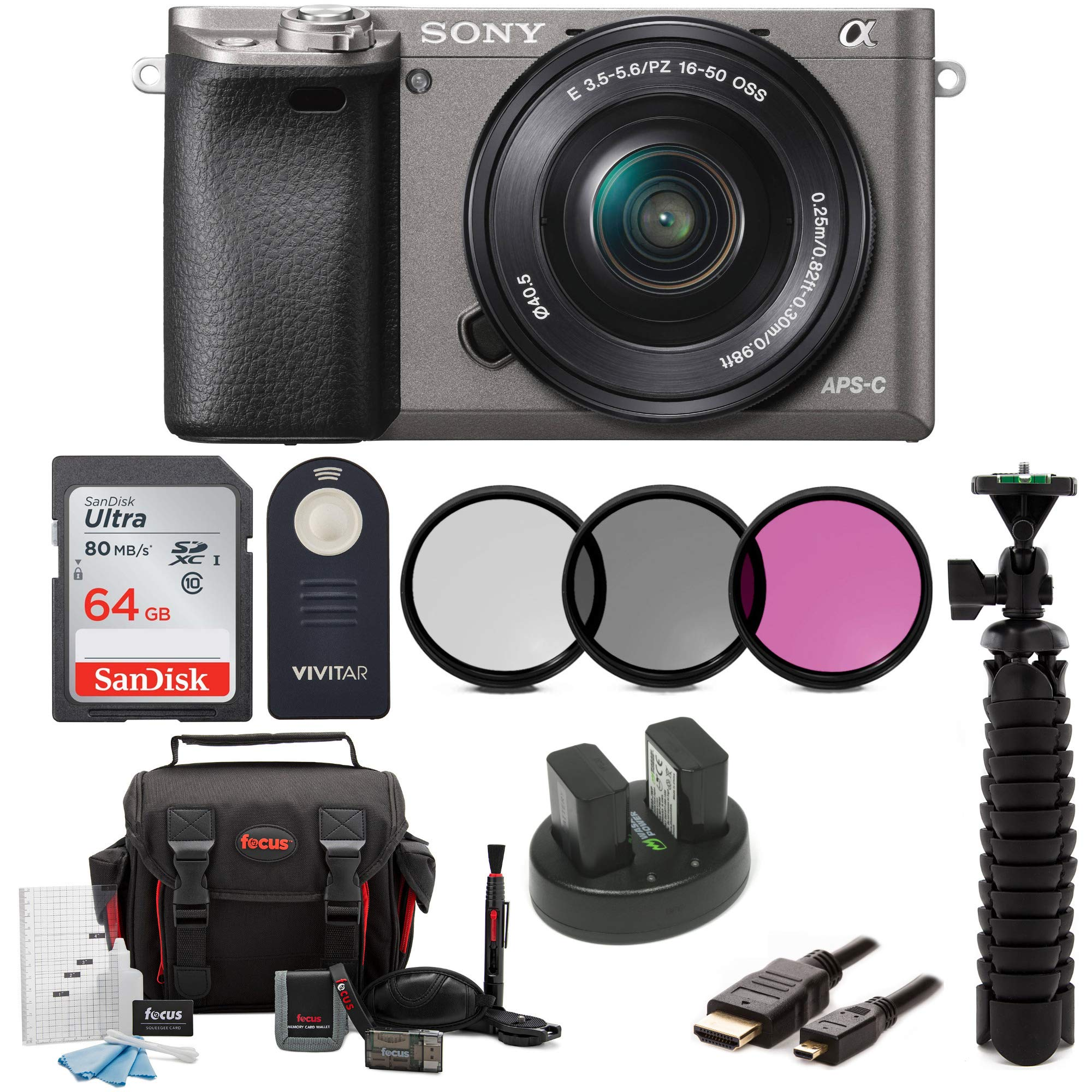Sony Alpha a6000 Camera w/ 16-50mm Lens and 64GB SD Card Bundle (Graphite) by Sony